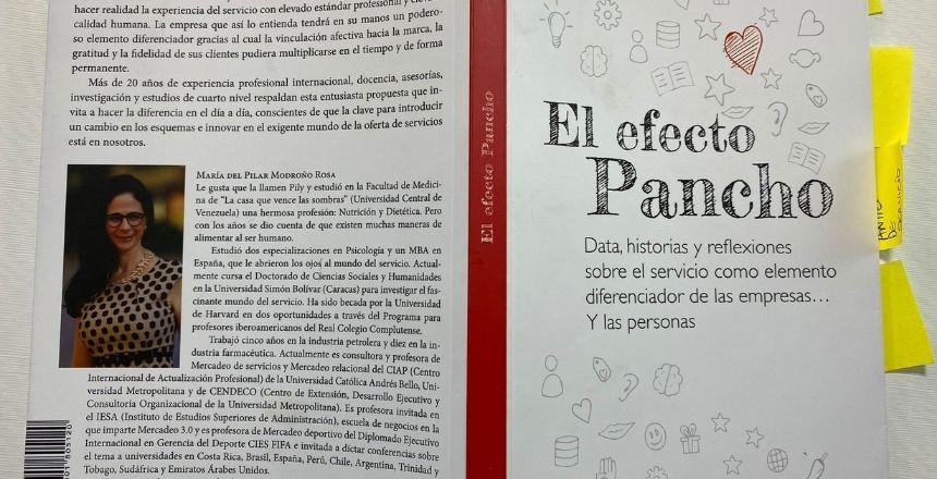 Parte trasera del libro el efecto pancho Data, historia y reflexiones sobre el servicio como elemento diferenciador de las empresas y las personas