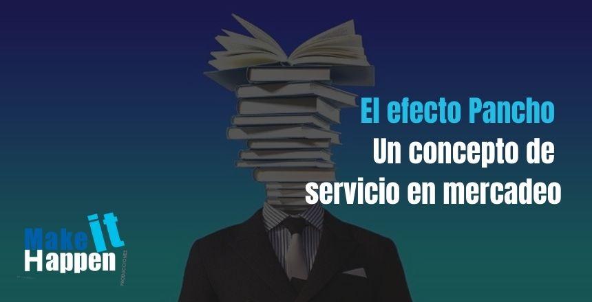 Cuerpo de un hombre con traje con libros saliendo de su cabeza el efecto pancho un concepto de servicio en mercadeo