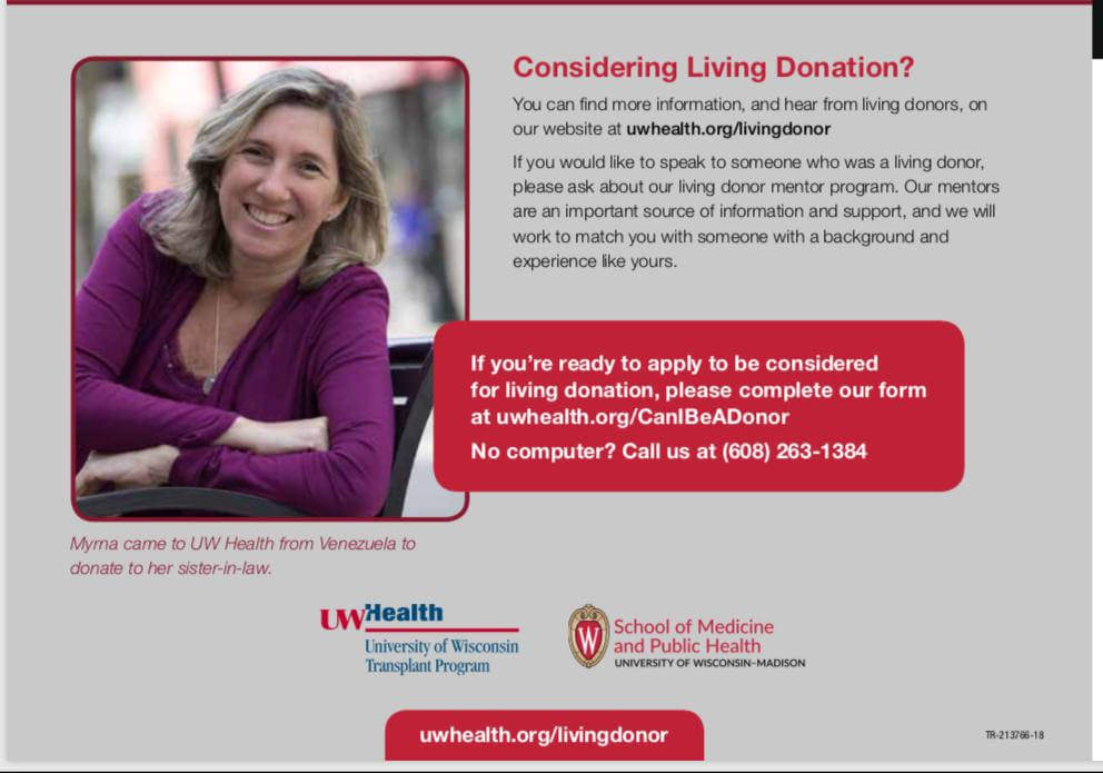 Considering living donation? Myrna came to uw health from venezuela to donate to her sister-in-law