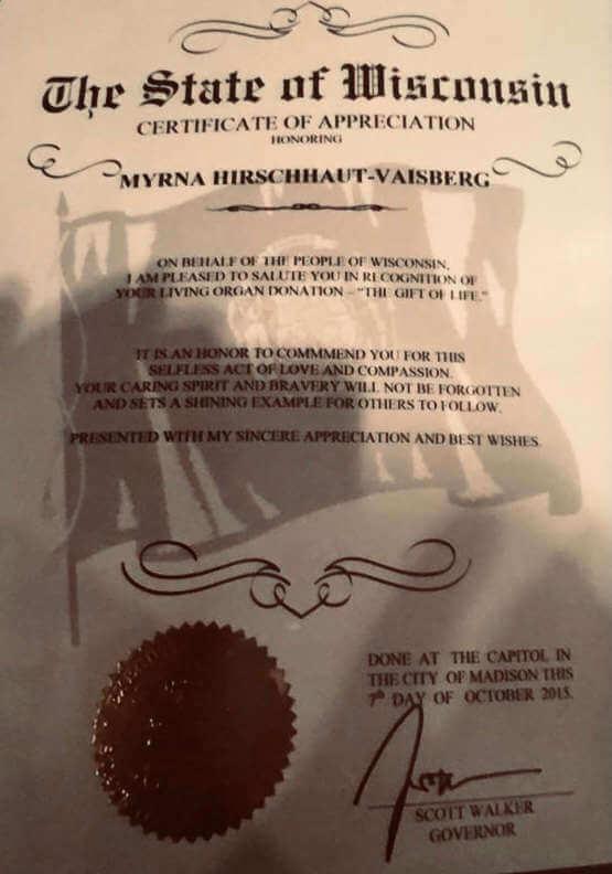 Diploma certicate of appreciation honoring myrna hirschhaut- vaisberg