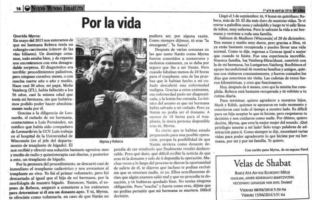 Recorte de periodico nuevo mundo Israelita Por la vida prensa historia de myrna vaisberg ser donante de higado