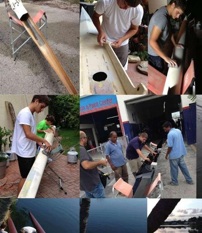 mosaico de imagenes restaurando el barco de remo de ruben merenfeld con varias personas ayudando