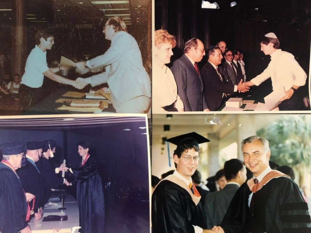 mosaico de fotos de las 4 graduaciones de Alex Gutt: de arriba a abajo: primaria, bachiller Lic. Administración, MBA